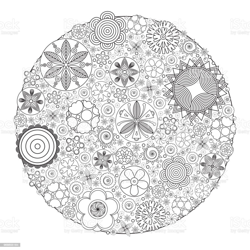 Vector Monochrome Floral Decorative Pattern For Coloring Book Grown Up And Adult Imitation Of