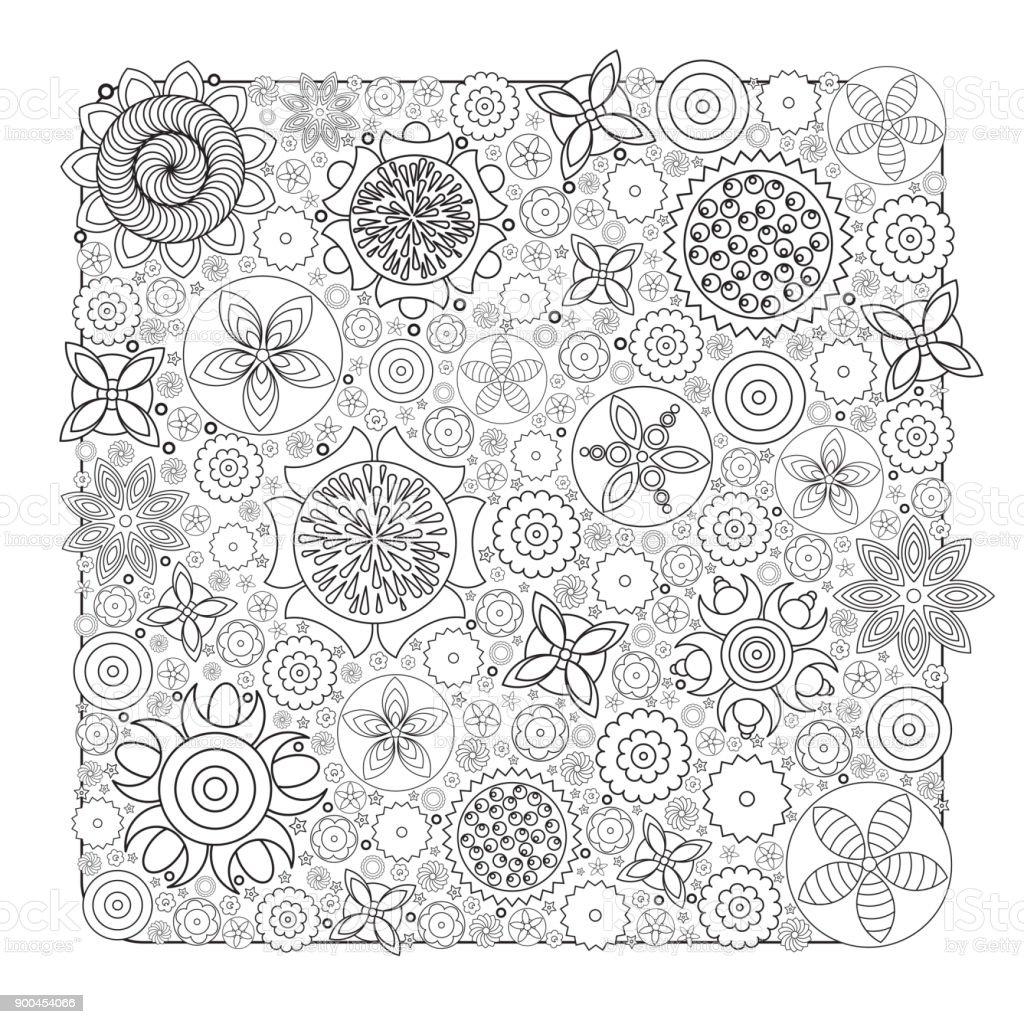 Vektor Monochrome Blumenmuster Imitation Von Hand Gezeichneten Blume ...