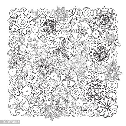 🔥 Imagen de Patrón floral monocromo de vector. Imitación de flores ...