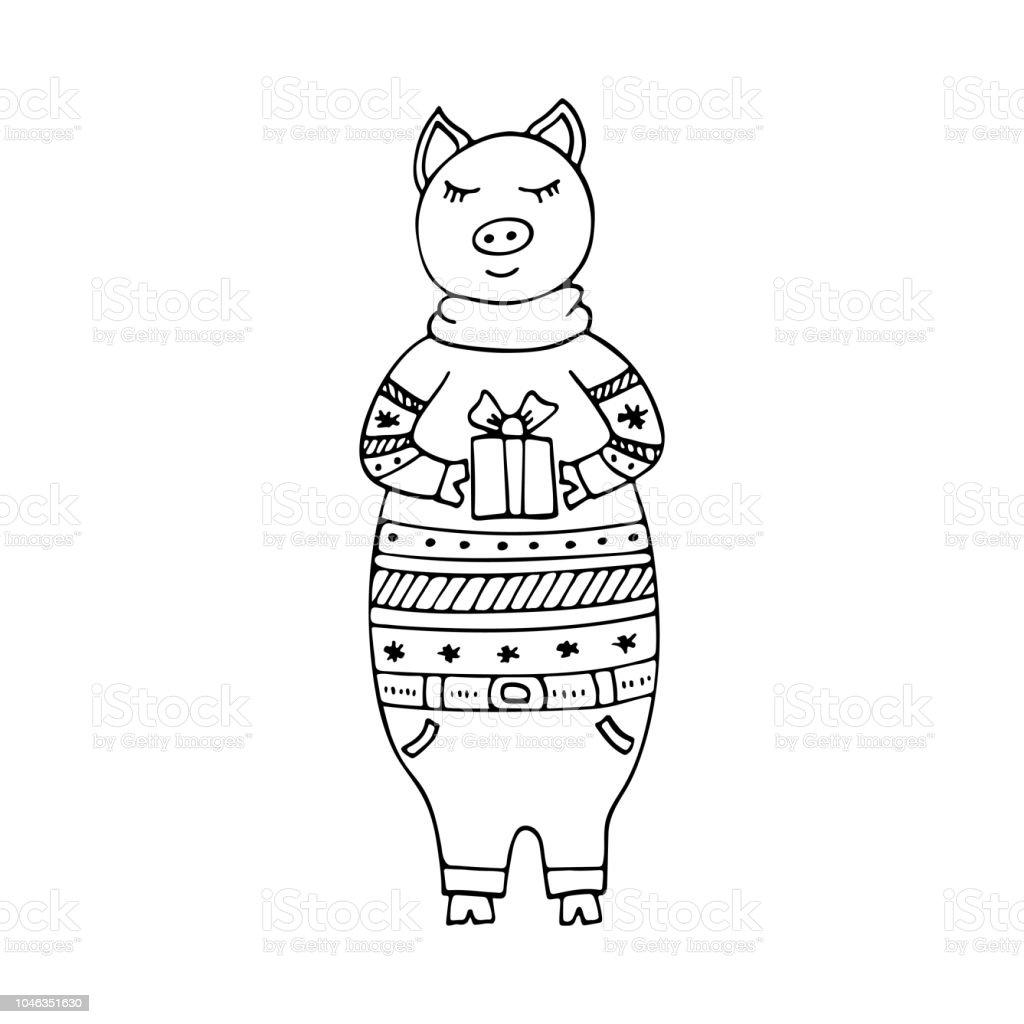 贈り物にクリスマスのセーターで豚とモノクロの手描きイラストを手に
