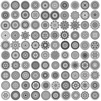 Vector monochrome icon set