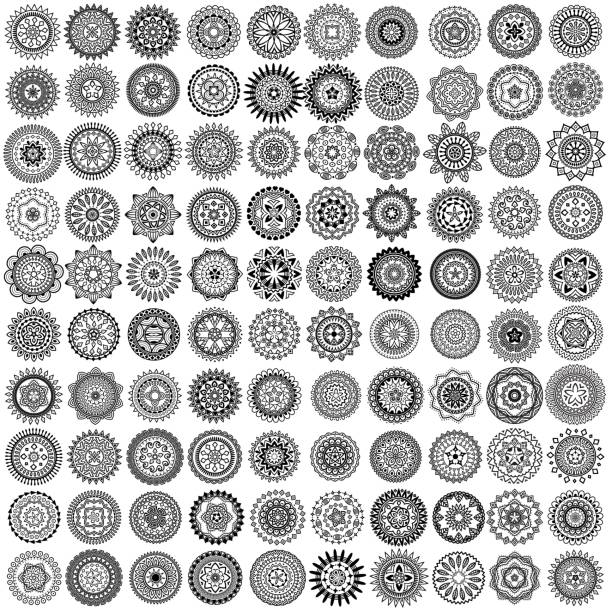 ilustrações de stock, clip art, desenhos animados e ícones de vector monochrome icon set - mosaicos flores