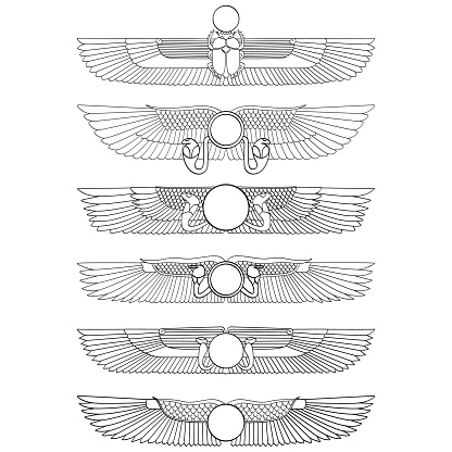 vector monochrome icon set with ancient egyptian symbol Winged sun