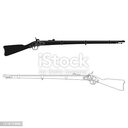 istock Vector monochrome icon with Antique Rifle 1216733660