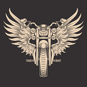 Vector monochrome illustration of motorcycle with wings. Design element for the advertising poster, sketch for the tattoo, print for the t-shirts