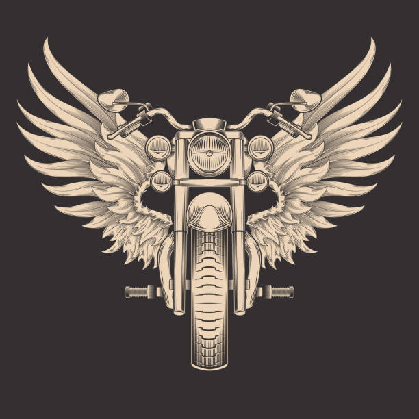 Vector monochrome illustration of motorcycle with wings. vector art illustration
