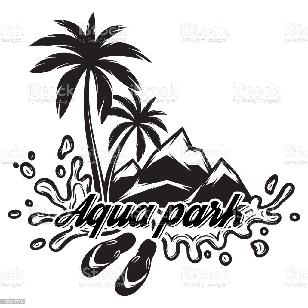 パーム山海の波と観光のテーマのベクトル白黒イラスト