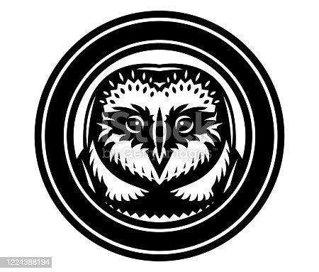 istock Vector monochrome illustration with an owl head 1224388194