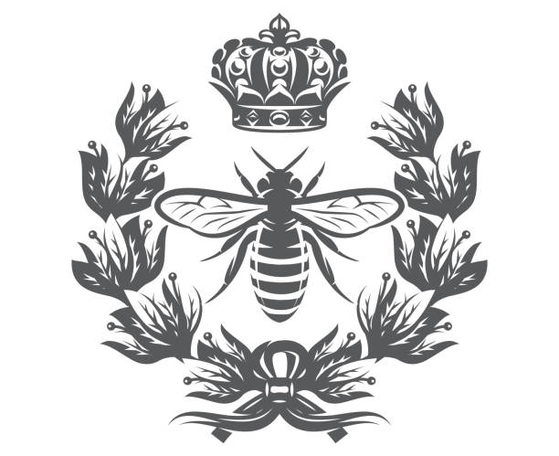 Vector monochrome illustration with bee, imperial crown and laurel wreath Vector monochrome illustration with bee, imperial crown and laurel wreath. queen bee stock illustrations