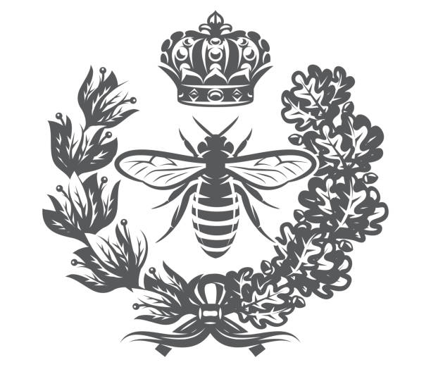 Vector monochrome illustration with bee, imperial crown and wreath Vector monochrome illustration with bee, imperial crown and wreath. queen bee stock illustrations