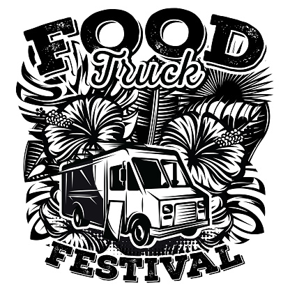 Vector monochrome illustration with design elements for advertising street food festival