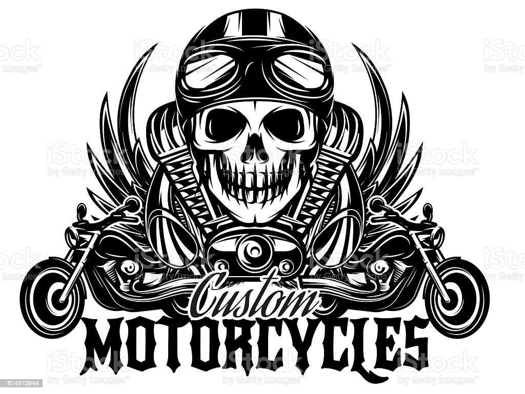 vector monochrome image with skulls, motorcycles, wings, engine vector art illustration
