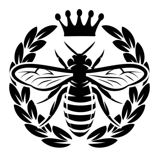 Vector monochrome pattern with flying bee and crown. Vector monochrome pattern with flying bee and crown. queen bee stock illustrations