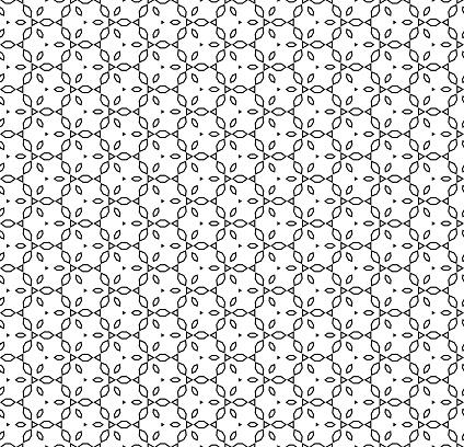 Vector monochrome seamless ornamental pattern