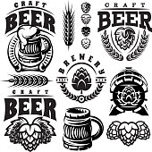 Hops and wheat brewing symbols.