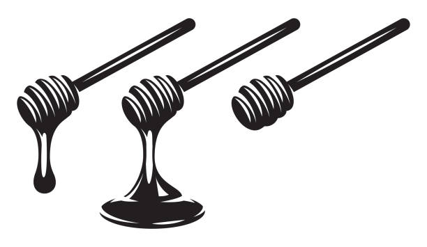 vector monochrome set of three spoons with dripping honey. - lepki stock illustrations