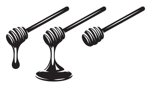 illustrazioni stock, clip art, cartoni animati e icone di tendenza di vector monochrome set of three spoons with dripping honey. - appiccicoso