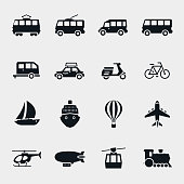 Vector monochrome transport and vehicle icons. Car and train, bus and balloon, sailboat and moped