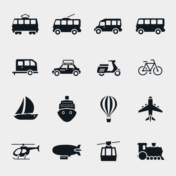 Vector monochrome transport and vehicle icons Vector monochrome transport and vehicle icons. Car and train, bus and balloon, sailboat and moped personal land vehicle stock illustrations