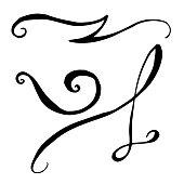 Vector monogram calligraphic swirl filigree element. Black and white engraved ink art. Isolated monogranms illustration element on white background.