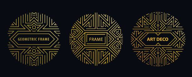 Vector monogram design elements in trendy vintage and mono line style with space for text - abstract golden geometric frames, packaging template . Use for ad, poster, card, cover. Art deco vector art illustration