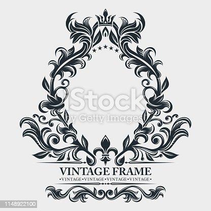 istock Vector monogram. Elegant emblem logo. Vintage baroque frame, border. Leaf scroll floral ornament. Engraving retro flower pattern. Antique style, swirl, decorative design element. Black and white filigree.  Vector wedding invitation, greeting card. 1148922100
