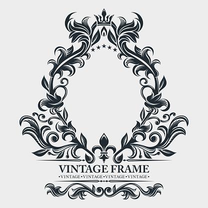 Vector monogram. Elegant emblem logo. Vintage baroque frame, border. Leaf scroll floral ornament. Engraving retro flower pattern. Antique style, swirl, decorative design element. Black and white filigree.  Vector wedding invitation, greeting card.