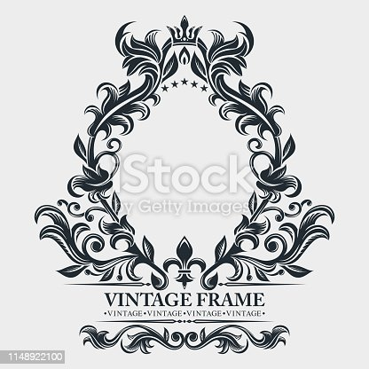 istock Vector monogram. Elegant emblem logo. Vintage baroque frame, border. Leaf scroll floral ornament. Engraving retro flower pattern. Antique style, swirl, decorative design element. Black and white filigree.  Vector wedding invitation, greeting card. 1148922100