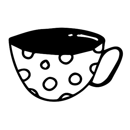 Vector monoline cute cup of coffee with heart.
