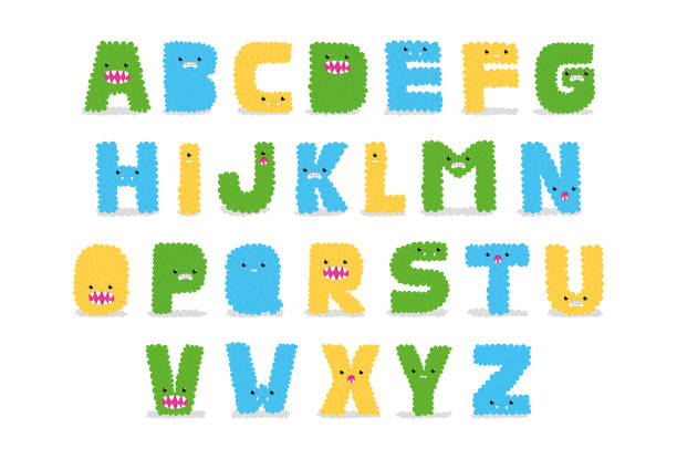 Vector Monster Alphabet Letters Alphabet letters shaped like monsters on isolated white background. meer stock illustrations