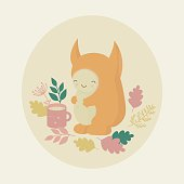Cute orange monster and mug of tea in autumn forest. Vector