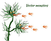 Vector monsters. Aliens. Fire-breathing dragons from plants. Cartoon characters of green algae on a white background.
