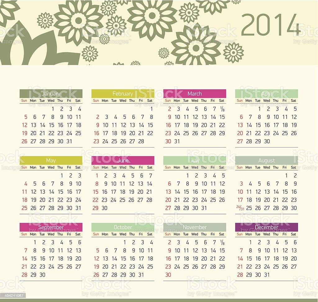 Vector monthly calendar for 2014 royalty-free stock vector art