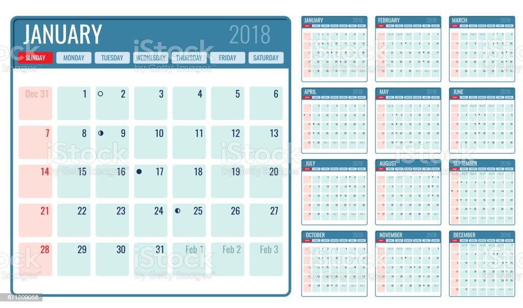 Vektor Monatlichen Kalendervorlage 2018 Jahr Stock Vektor Art und ...