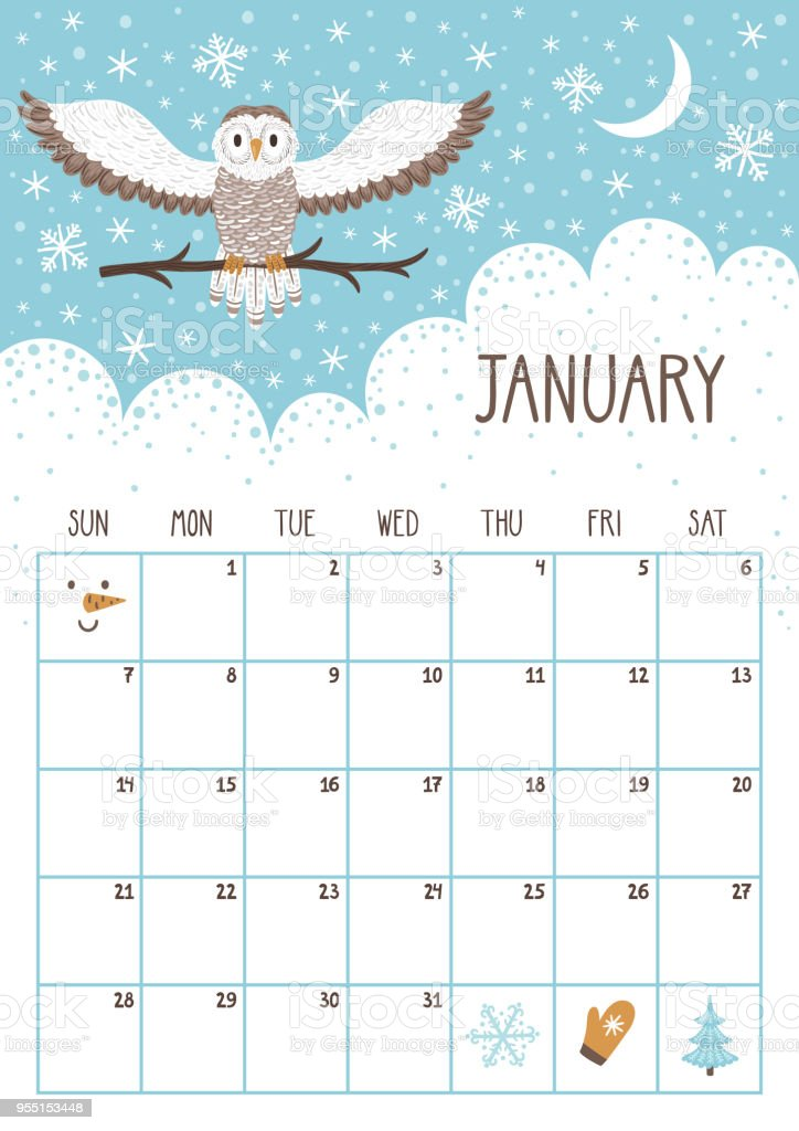 Vector Monthly Calendar With Cute Owl January 2018 Planning Design