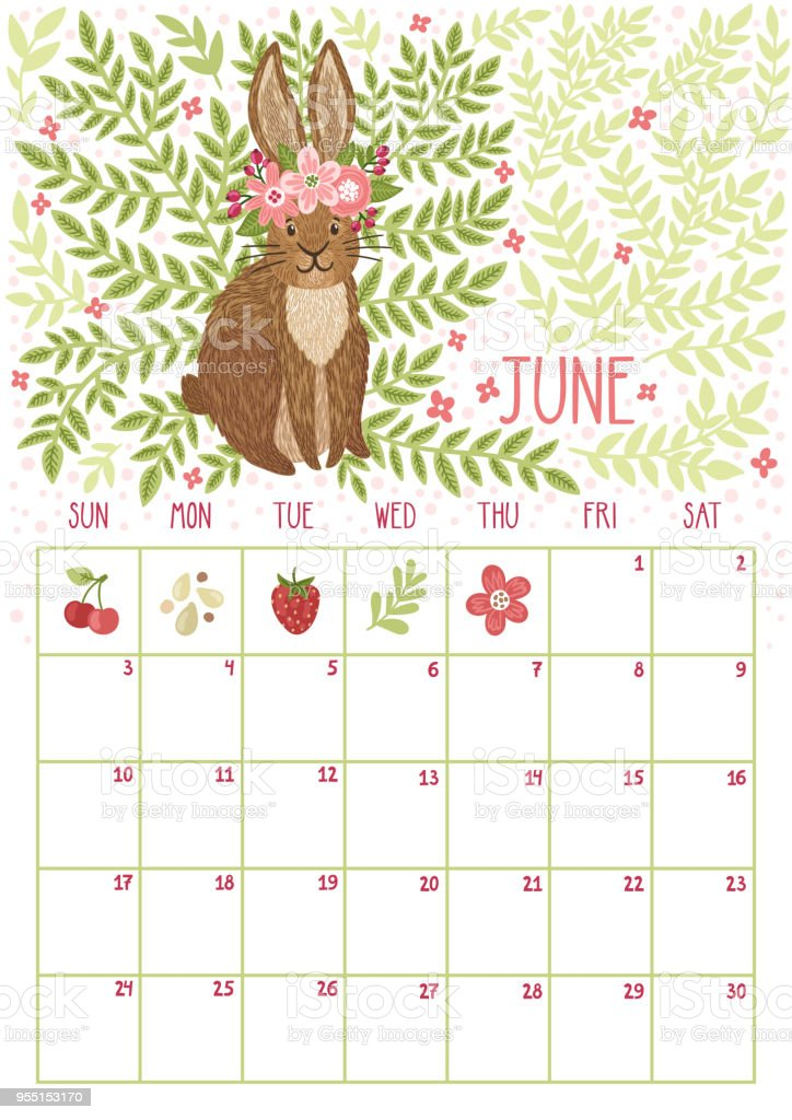 vector monthly calendar with cute rabbit june 2018 planning design calendar page with