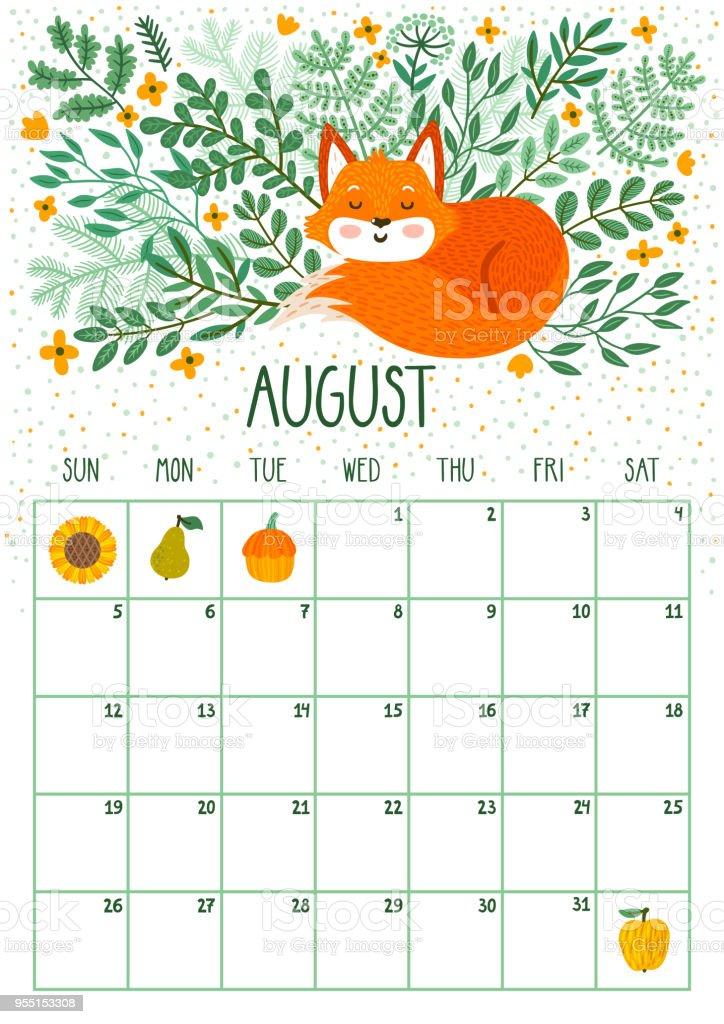 Calendario mensual de vector con lindo zorro durmiente. Agosto de 2018. Planificación de diseño. Página de calendario con sonrientes personajes de dibujos animados. - ilustración de arte vectorial