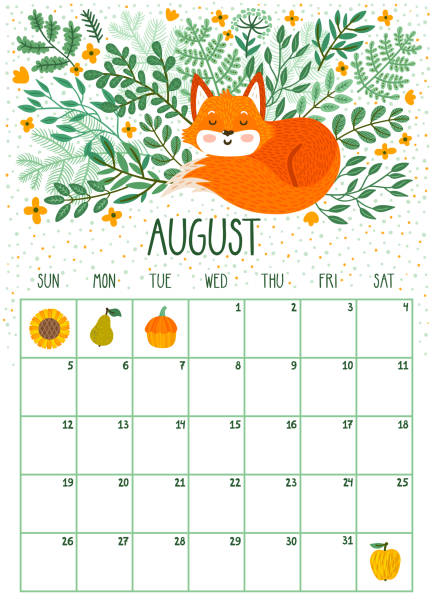 Vector monthly calendar with cute sleeping fox. August 2018. Planning design.Calendar page with smiling cartoon characters. vector art illustration