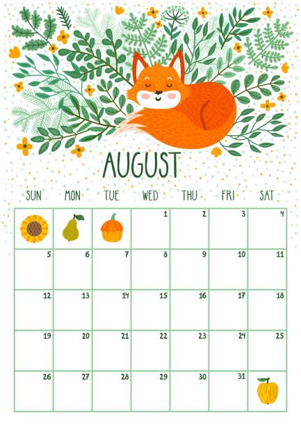 ilustraciones, imágenes clip art, dibujos animados e iconos de stock de calendario mensual de vector con lindo zorro durmiente. agosto de 2018. planificación de diseño. página de calendario con sonrientes personajes de dibujos animados. - calendario de naturaleza
