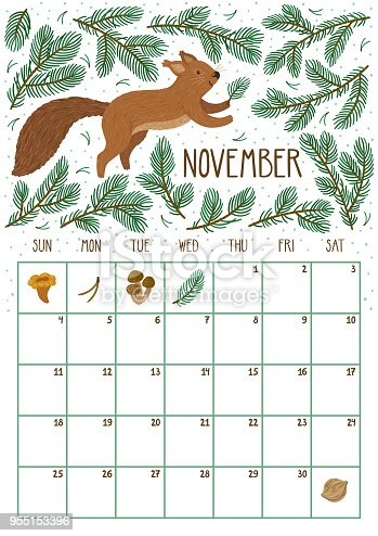 Vector Monthly Calendar With Cute Squirrel November 2018 ...