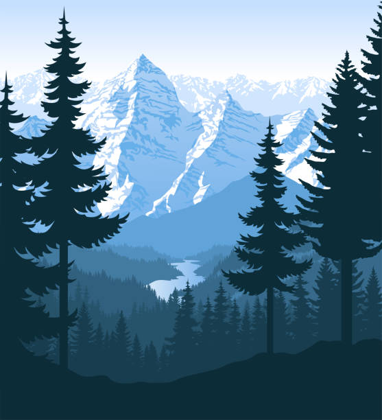 vector morning in beautiful mountains forest with river vector art illustration