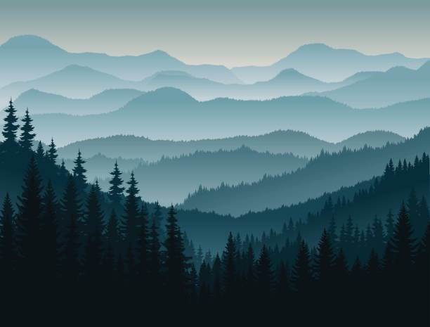 vector morning in mountains vector art illustration