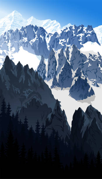illustrazioni stock, clip art, cartoni animati e icone di tendenza di vector morning mont blanc in alps mountain landscape - monte bianco