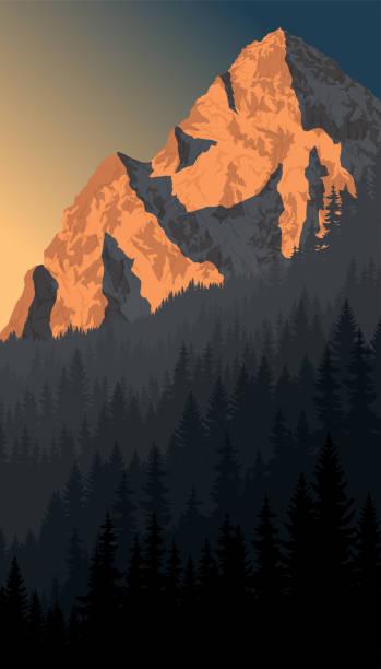 illustrazioni stock, clip art, cartoni animati e icone di tendenza di vector morning peack in alps mountain woodland landscape - monte bianco