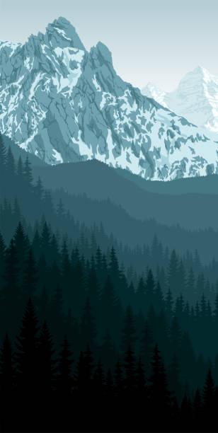 illustrazioni stock, clip art, cartoni animati e icone di tendenza di vector morning peack in mountain woodland landscape - monte bianco