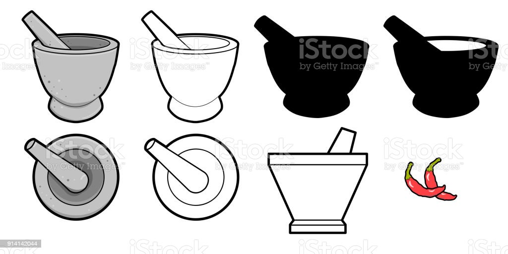 vector mortar and pestle vector mortar and pestle Used for Crushing and Grinding on white background Black Color stock vector