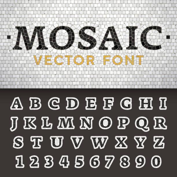 mosaik boden stil vektorschrift. briefe aus pflaster steinen gemacht. - kieselmosaik stock-grafiken, -clipart, -cartoons und -symbole