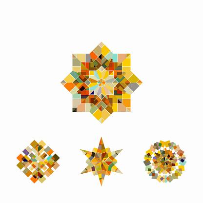 Vector mosaic mandala pattern symbol collection