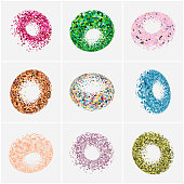 Vector mosaic ring pattern icon collection