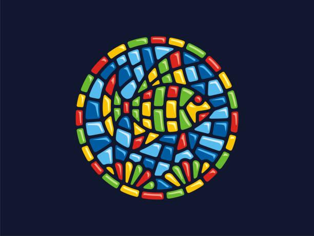 vector mosaik. runde abbildung von fischen. - kieselmosaik stock-grafiken, -clipart, -cartoons und -symbole